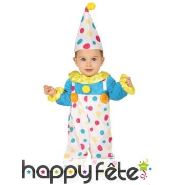 Déguisement de clown à pois avec chapeau pour bébé