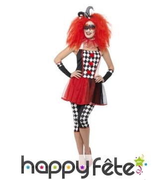 Déguisement de clown arlequin moulant pour femme