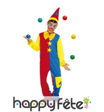 Déguisement de clown bicolore pour enfant