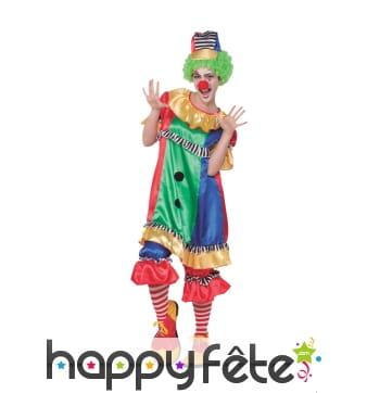 Déguisement de clown multicolore pour femme