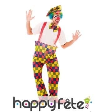 Déguisement de clown multicolore pour homme