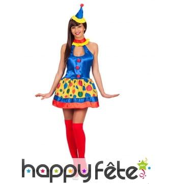 Déguisement de clown multicolore satiné pour femme