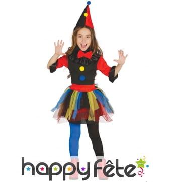 Déguisement de clown noir et coloré pour fille
