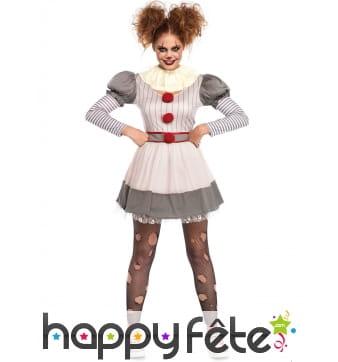 Déguisement de clown terrifiant vintage pour femme