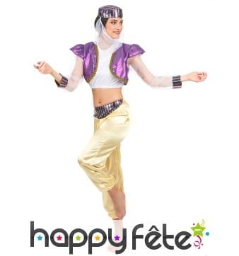 Déguisement de danseuse orientale violet et blanc