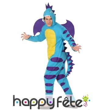 Déguisement de dragon bleu violet pour homme