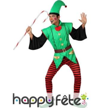 Déguisement d'elfe de Noël vert pour homme