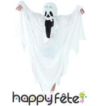 Déguisement de fantôme blanc visage imprimé