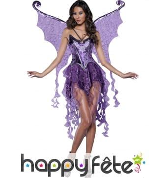 Déguisement de fée papillon violette premium