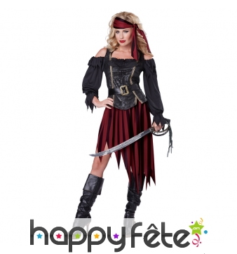 Déguisement de femme pirate authentique