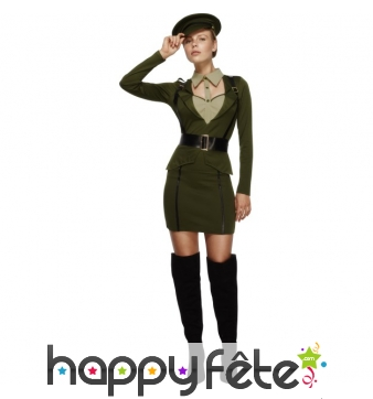 Déguisement de femme soldat sexy vert