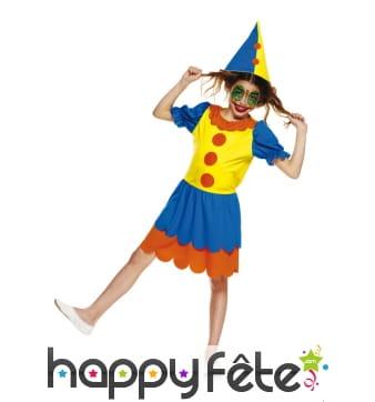 Déguisement de fille clown bleu et jaune