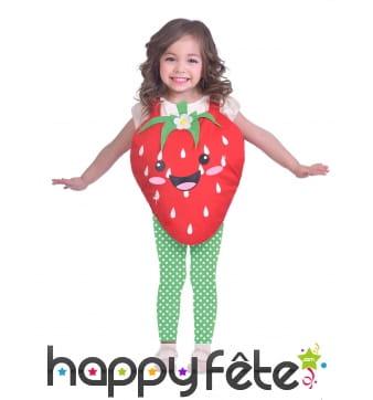 Déguisement de fraise souriante pour petite fille