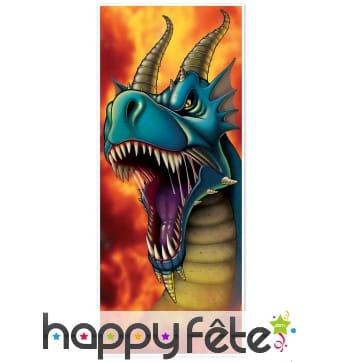 Décoration dragon gueule ouverte pour porte