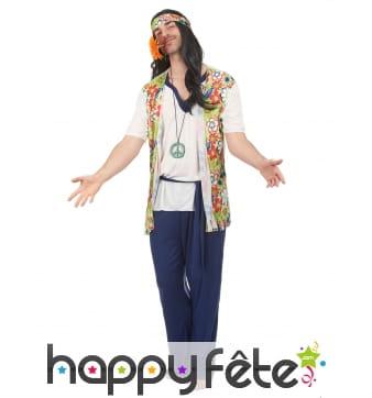 Déguisement de hippie avec pantalon bleu
