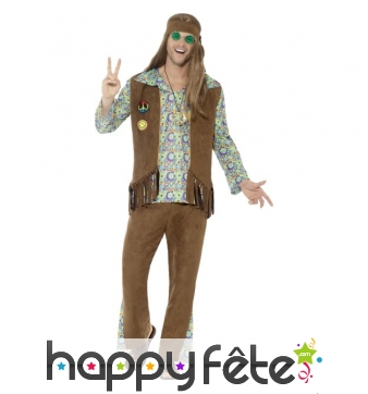 Déguisement de hippie, gilet à franges marron