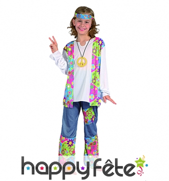 Déguisement de hippie pour fille, flashy