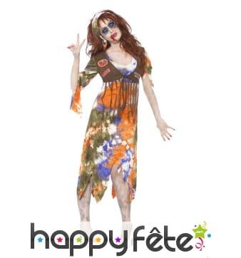 Déguisement de hippie zombie femme