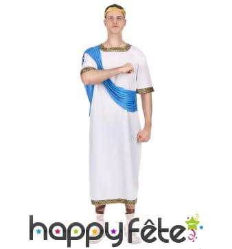 Déguisement de Jules César avec toge bleue