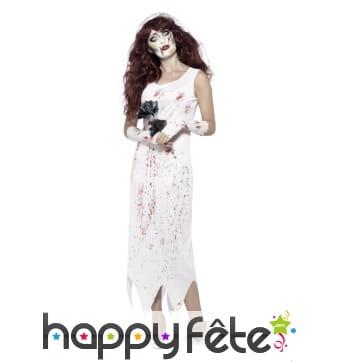 Déguisement de mariée zombie blanche