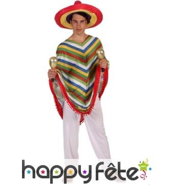 Déguisement de mexicain, poncho et pantalon blanc