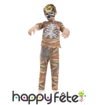 Déguisement de momie squelette pour enfant