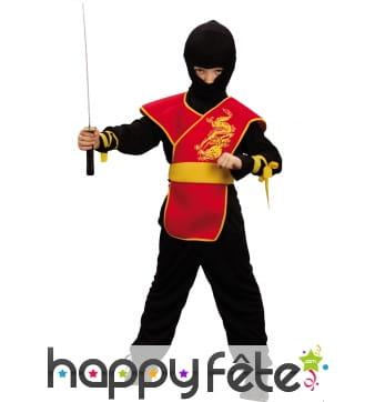 Déguisement de ninja noir et rouge pour enfant