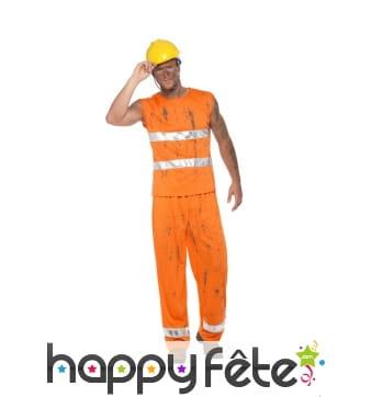 Déguisement d'ouvrier de voirie orange