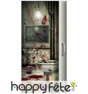 Déco de porte toilette salle de bain en sang