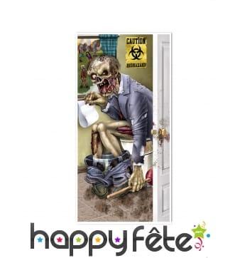 Déco de porte zombie sur les toilettes