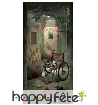 Décor de porte asile pour Halloween