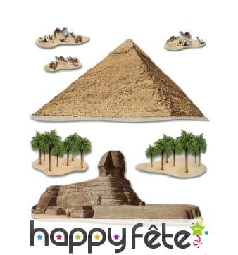 Décors de pyramide et sphinx, Egypte
