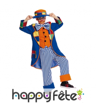 Déguisement de petit clown bleu patchwork