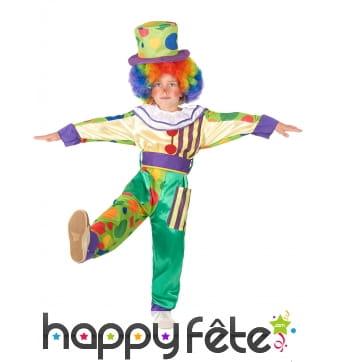 Déguisement de petit clown multicolore à motifs