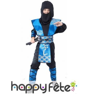 Déguisement de petit ninja bleu et noir