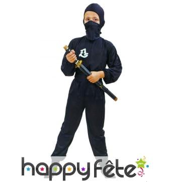 Déguisement de petit ninja noir uni
