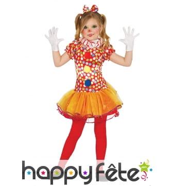 Déguisement de petite clown colorée