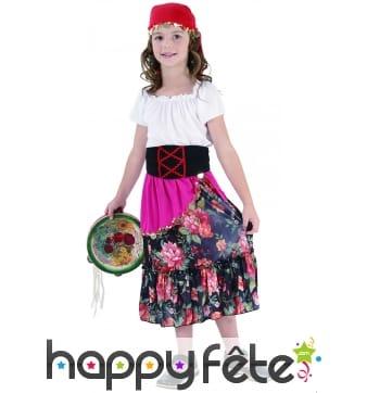 Déguisement de petite gitane en robe fleurie