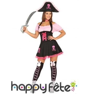 Déguisement de pirate girly rose et noir