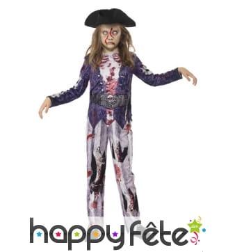 Déguisement de piratesse zombie pour enfant