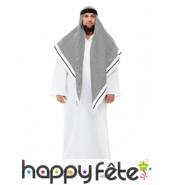 Déguisement de prince arabe gris et blanc, adulte