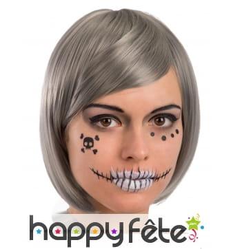 Décorations de squelette pour visage, adulte