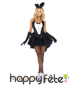 Déguisement de serveuse bunny noire et blanche