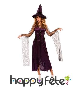 Déguisement de sorcière lilas avec voile