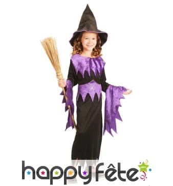 Déguisement de sorcière noir et violet pour fille