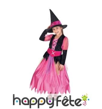 Déguisement de sorcière rose pour enfant