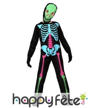 Déguisement de squelette coloré pour enfant
