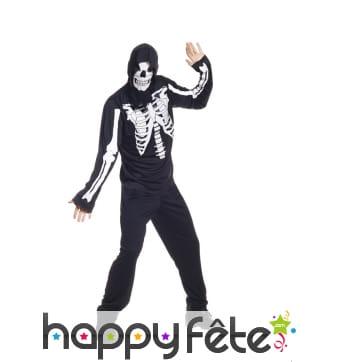 Déguisement de squelette imprimé pour adulte