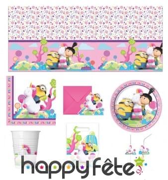 Déco de table d'anniversaire Minions et la licorne