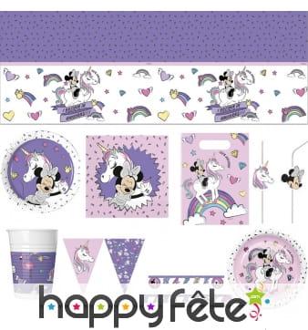 Déco de table d'anniversaire Minnie et la licorne